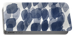 Indigo Rain- Abstract Blue And White Painting Portable Battery Charger by Linda Woods