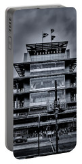 Indy 500 Pagoda - Black And White Portable Battery Charger