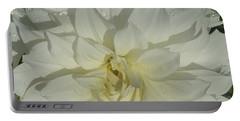 Innocent White Dahlia  Portable Battery Charger by Susan Garren