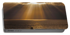 Inspirational Sun Rays Over Calm Ocean Clouds Bible Verse Photograph Portable Battery Charger