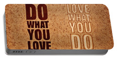 Portable Battery Charger featuring the painting Inspiring Quote Original Coffee Painting by Georgeta Blanaru