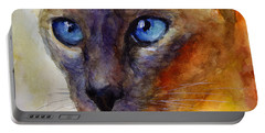 Intense Siamese Cat Painting Print 2 Portable Battery Charger