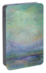 Portable Battery Charger featuring the painting Into The Morning by Mary Wolf