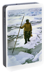 Portable Battery Charger featuring the photograph Inuit Seal Hunter Barrow Alaska July 1969 by California Views Mr Pat Hathaway Archives