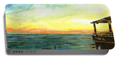 Portable Battery Charger featuring the painting Ionian Sea Zanti Greek Island by Teresa White