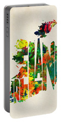 Ireland Typographic Watercolor Map Portable Battery Charger