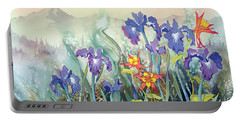 Portable Battery Charger featuring the painting Iris And Columbine II by Teresa Ascone