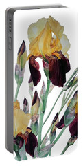 Watercolor Of Tall Bearded Iris In Yellow And Maroon I Call Iris Beethoven Portable Battery Charger