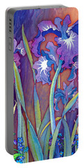 Portable Battery Charger featuring the mixed media Iris Bouquet by Teresa Ascone