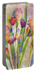 Iris Elegance On Pink Portable Battery Charger