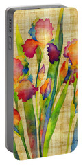 Iris Elegance On Yellow Portable Battery Charger