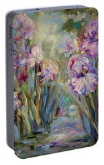 Portable Battery Charger featuring the painting Iris Garden by Mary Wolf
