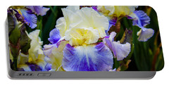 Portable Battery Charger featuring the photograph Iris In Blue And Yellow by Patricia Babbitt