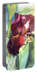 Watercolor Of A Tall Bearded Iris Called Sultan's Palace In Red And Burgundy Portable Battery Charger