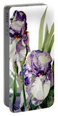 Watercolor Of A Tall Bearded Iris In Violet And White I Call Iris Selena Marie Portable Battery Charger