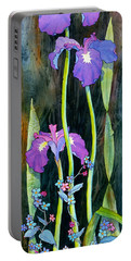 Portable Battery Charger featuring the painting Iris Tall And Slim by Teresa Ascone