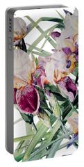 Watercolor Of Tall Bearded Irises I Call Iris Vivaldi Spring Portable Battery Charger