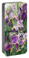 Irises In The Garden Portable Battery Charger by Nadine Dennis