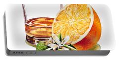 Portable Battery Charger featuring the painting Irish Whiskey And Orange by Irina Sztukowski