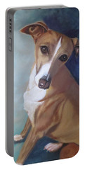 Portable Battery Charger featuring the painting Italian Greyhound by Sharon Schultz