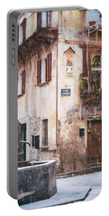 Portable Battery Charger featuring the photograph Italian Square In  Snow by Silvia Ganora