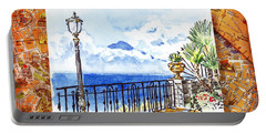 Italy Sketches Sorrento View On Volcano Vesuvius  Portable Battery Charger