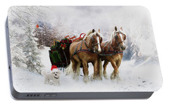 Portable Battery Charger featuring the painting A Christmas Wish by Shanina Conway