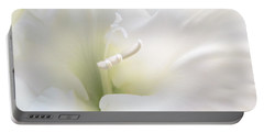 Ivory Gladiola Flower Portable Battery Charger