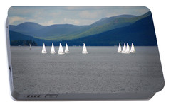 Portable Battery Charger featuring the photograph J Boats Lake George N Y by John Schneider