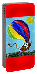 Portable Battery Charger featuring the painting Jack And Charlie Fly Away by Jackie Carpenter