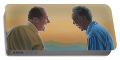 Jack Nicholson And Morgan Freeman Portable Battery Charger by Paul Meijering