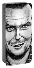 Portable Battery Charger featuring the drawing Jack Nicholson #2 by Salman Ravish