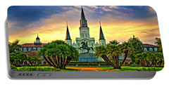 Jackson Square Evening - Paint Portable Battery Charger by Steve Harrington
