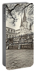 Jackson Square Winter Sepia Portable Battery Charger by Steve Harrington