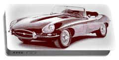 Jaguar E-type - Cross Hatching Portable Battery Charger