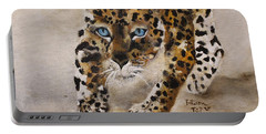 Portable Battery Charger featuring the painting Big Cat Stalk by Barbie Batson