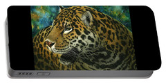 Portable Battery Charger featuring the mixed media Jaguar by Sandra LaFaut