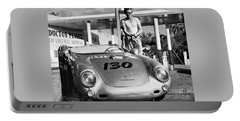 James Dean Filling His Spyder With Gas Black And White Portable Battery Charger