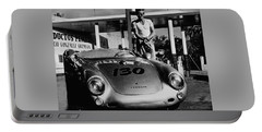 James Dean Filling His Spyder With Gas In Black And White Portable Battery Charger