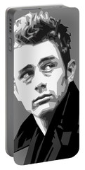 James Dean In Black And White Portable Battery Charger by Douglas Simonson