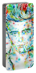 James Dean Smoking Cigarette - Watercolor Portarit Portable Battery Charger by Fabrizio Cassetta