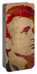 James Dean Watercolor Portrait On Worn Distressed Canvas Portable Battery Charger by Design Turnpike