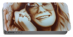Janis Joplin - ' Janis ' Portable Battery Charger by Christian Chapman Art