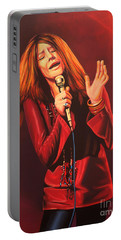 Janis Joplin Painting Portable Battery Charger by Paul Meijering