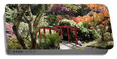 Japanese Garden Bridge With Rhododendrons Portable Battery Charger