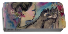 Japanese Lady And Felines Portable Battery Charger by Judith Desrosiers