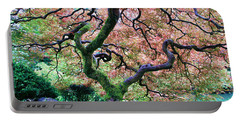 Japanese Tree In Garden Portable Battery Charger by Athena Mckinzie