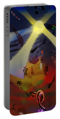 Portable Battery Charger featuring the digital art Jazz Fest II by Cathy Anderson