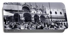 Jazz In Piazza San Marco Black And White  Portable Battery Charger