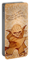 Portable Battery Charger featuring the painting Jedi Yoda Wisdom by Georgeta  Blanaru